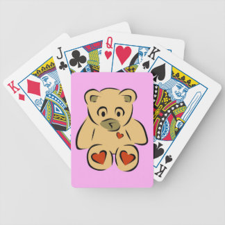 Cute animated hearts brown teddy bear bicycle playing cards