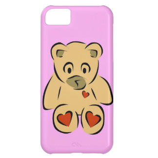 Cute animated hearts brown teddy bear case for iPhone 5C