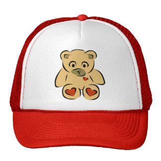 Cute animated hearts brown teddy bear trucker hat
