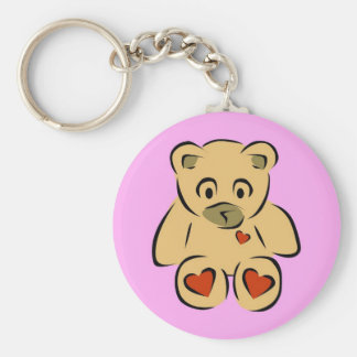 Cute animated hearts brown teddy bear key chain