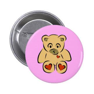 Cute animated hearts brown teddy bear pinback button