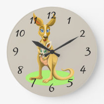 Cute animated Kangaroo with baby Large Clock