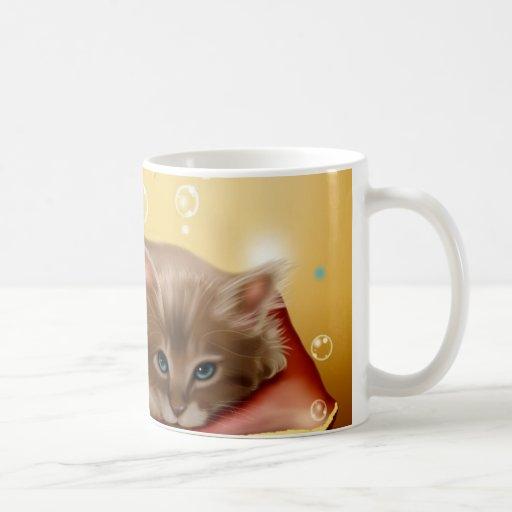 Cute animated kitten dreaming coffee mugs zazzle
