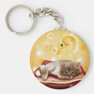 Cute animated kitten dreaming keychain