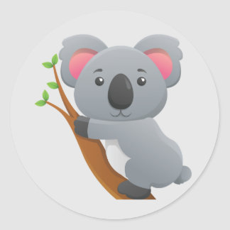 Cute Animated Koala Bear Classic Round Sticker