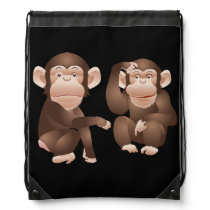 Cute animated Monkeys Drawstring Bag