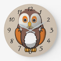 Cute animated Owl Large Clock