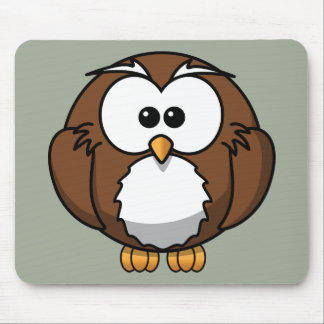 Cute Animated Owl Mouse Pad