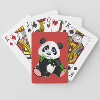 Cute animated Panda Bear Playing Cards