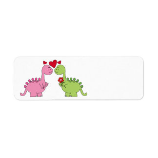 Cute animated Valentine's Day Dinosaurs Label