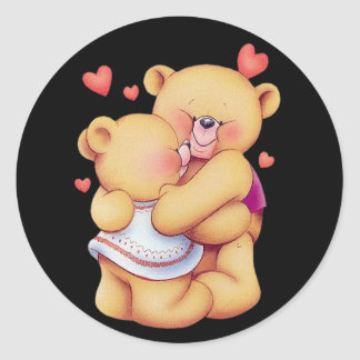 Cute Animated Valentine's Day Hugging Teddy Bears Classic Round Sticker