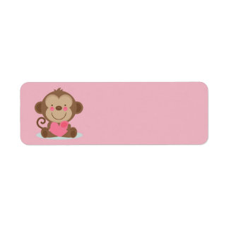Cute Animated Valentine's Day Monkey Label