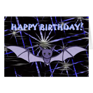 Cute Anime Baby Bat Koumori Birthday (Night Sky) Card