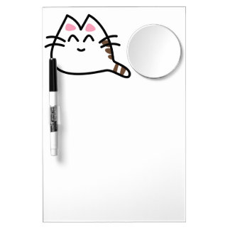 Cute Anime Cat Dry Erase Board With Mirror