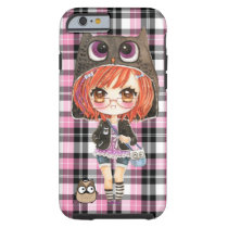 Cute anime chibi girl in kawaii owl hoodie tough iPhone 6 case