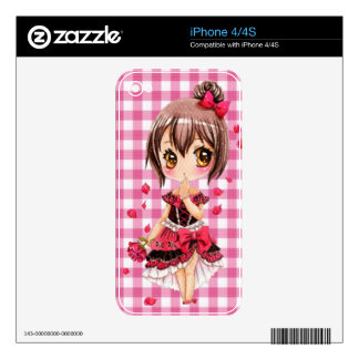 Cute anime chibi girl with red rose iPhone 4 skins