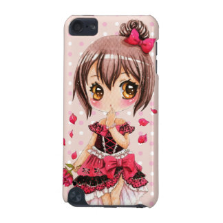 Cute anime chibi girl with red rose iPod touch (5th generation) cover