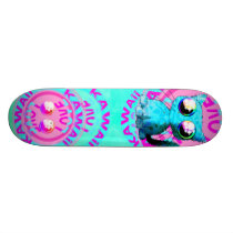 Cute anime design with cat and text skateboard