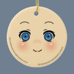Cute Anime Face Ceramic Ornament