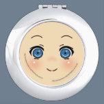 Cute Anime Face Compact Mirror