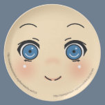 Cute Anime Face Melamine Plate