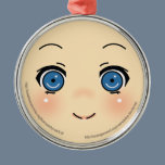 Cute Anime Face Metal Ornament