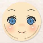 Cute Anime Face Round Paper Coaster