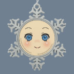 Cute Anime Face Snowflake Pewter Christmas Ornament