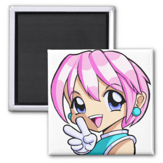 Cute Anime Girl 2 Inch Square Magnet