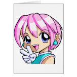 Cute Anime Girl Greeting Card