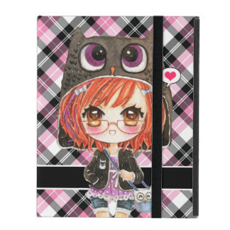 Cute anime girl in kawaii owl hoodie on pink plaid iPad cases