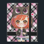"Cute anime girl in kawaii owl hoodie on pink plaid iPad cover<br><div class=""desc"">Make this cover unique for you by changing the text on the &quot;personalize&quot; box. You can add you name or any text you want. This design feature a cute chibi anime girl in owl hoodie with some kawaii owls on pink plaid background. Designed by Dao Thuy Duong.</div>"