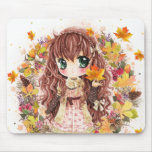 Cute anime girl with autumn leaves mouse pad