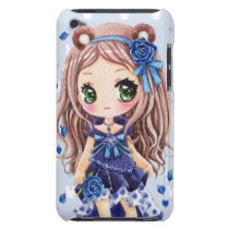 Cute anime girl with blue roses Case-Mate iPod touch case