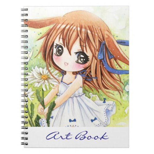 Cute anime girl with daisy - Notebook notebook