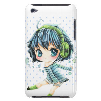 Cute anime girl with green headphone barely there iPod covers
