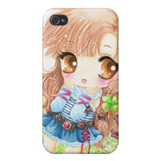 Cute anime girl with lucky clovers iPhone 4/4S case