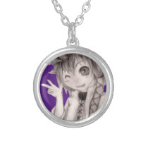Cute Anime Guy, Original Drawing Silver Plated Necklace