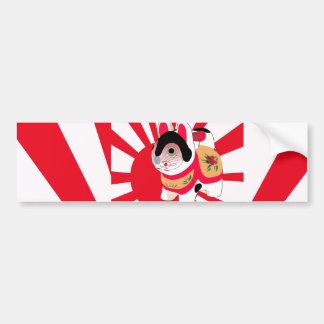 Cute Anime Japanese Flag Good Luck Cat Car Bumper Sticker