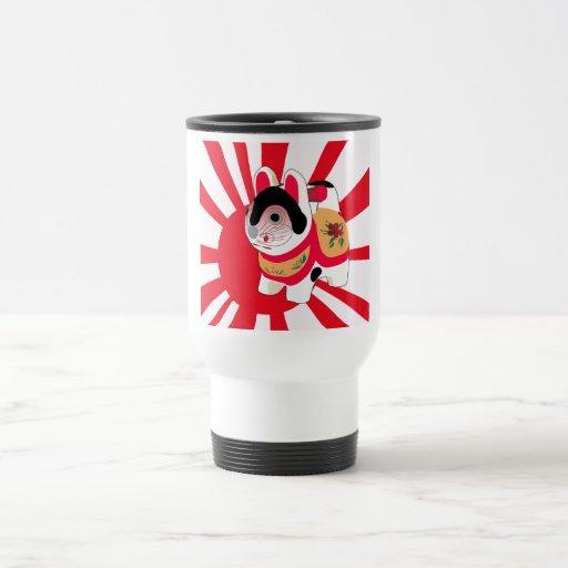 Cute Anime Japanese Flag Good Luck Cat Coffee Mugs