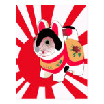 Cute Anime Japanese Flag Good Luck Cat Post Cards