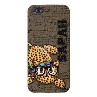 Cute Anime Leopard Nerd Glasses Cover For iPhone SE/5/5s