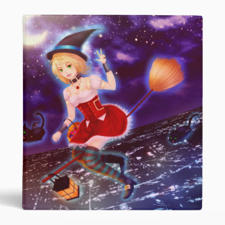 Cute anime witch girl with flying pet cats 3 ring binder