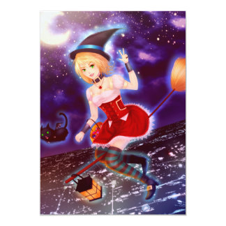 Cute anime witch girl with flying pet cats 5x7 paper invitation card