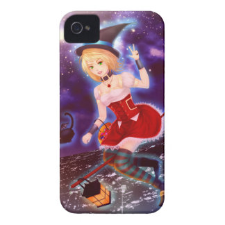 Cute anime witch girl with flying pet cats iPhone 4 case