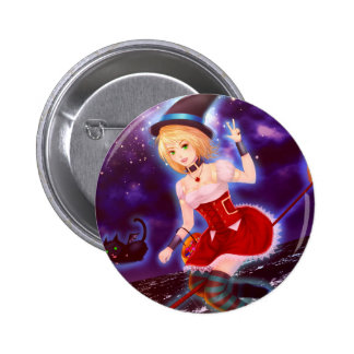 Cute anime witch girl with flying pet cats pinback button