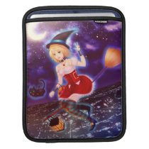 Cute anime witch girl with flying pet cats sleeve for iPads