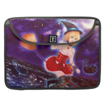 Cute anime witch girl with flying pet cats sleeve for MacBook pro