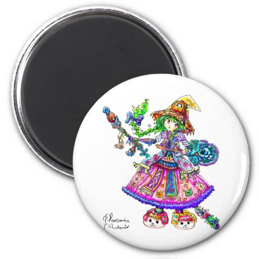 Cute Anime Witch Kawaii Halloween Magic Spell 2 Inch Round Magnet