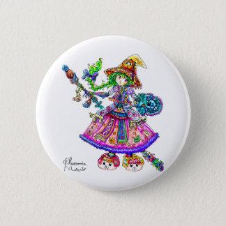 Cute Anime Witch Kawaii Halloween Magic Spell Button